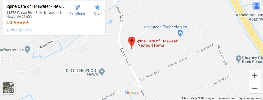 Map of Newport News Chiropractors